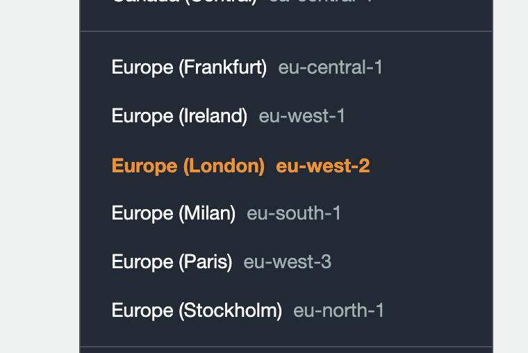 London AWS region selection