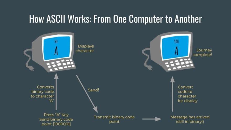 A flow chart demonstrating how a standardized schema like ASCII facilitates consistent data transfer