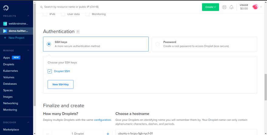 DigitalOcean Select New SSH Key