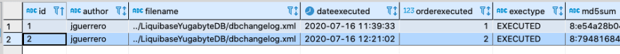 see a second record in the databasechangelog tracking table YugabyteDB Liquibase GKE tutorial