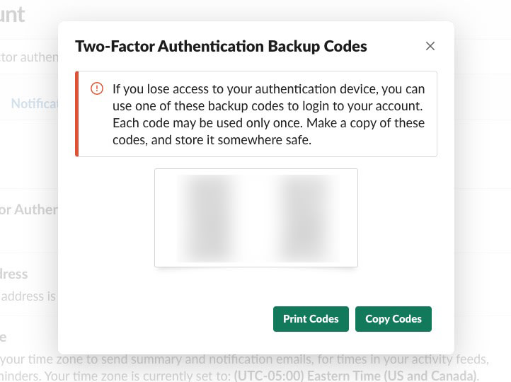 The Two-Factor Authentication Backup Codes modal on Slack