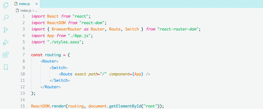 React code snippet with the Noctis - Hibernus theme