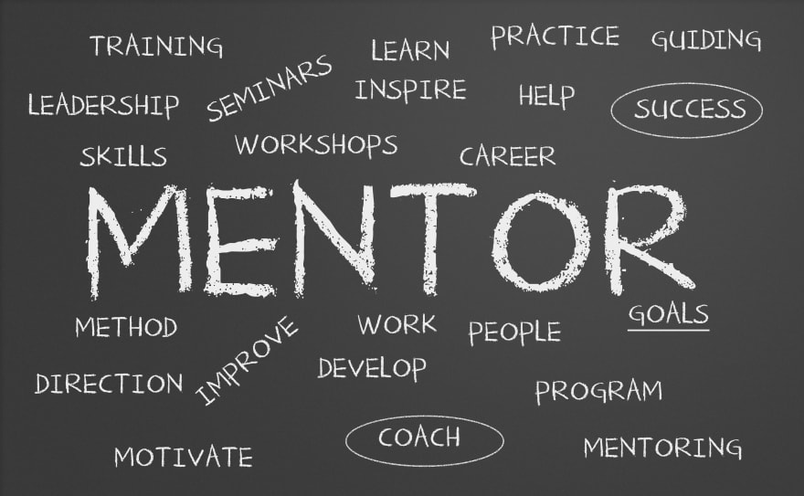 "Picture of a blackboard with the word ""Mentoring"" written in it."