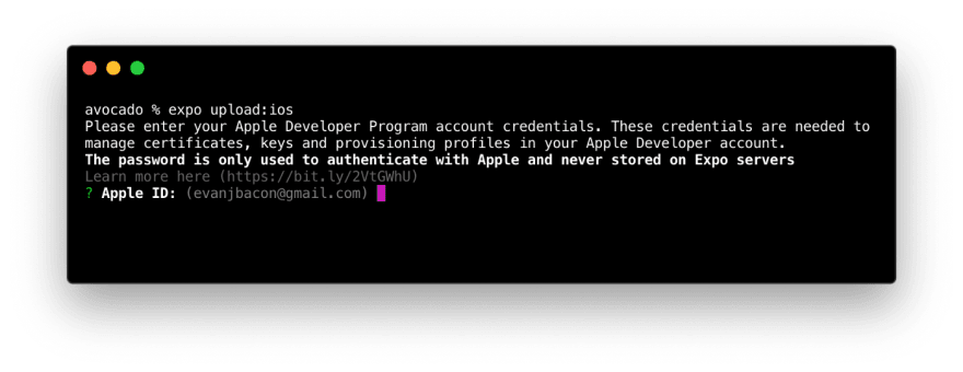 Screenshot of CLI with Apple ID suggestion