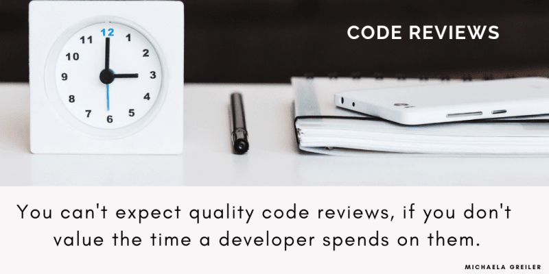 clock and paper symbolizing that work needs time as one code review pitfall