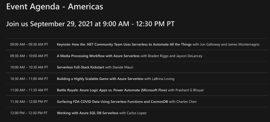 Schedule for the Azure Serverless Conference: Americas Edition