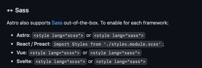 How to enable sass for each framework