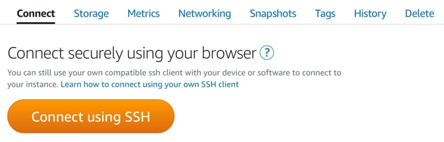 Amazon Lightsail connect to instance using SSH