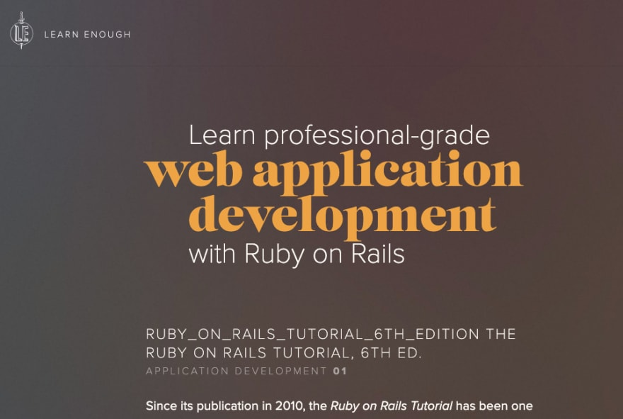 Learn Enough's Ruby on Rails tutorial