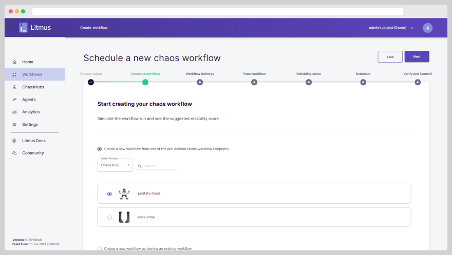 Scheduling a podtato-head template-based workflow