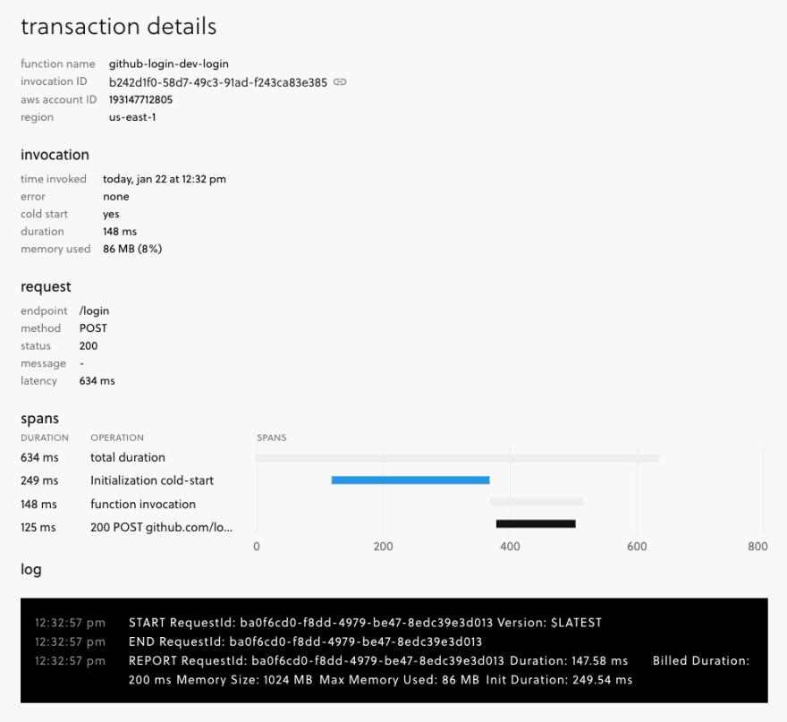 Serverless dashboard function log UI
