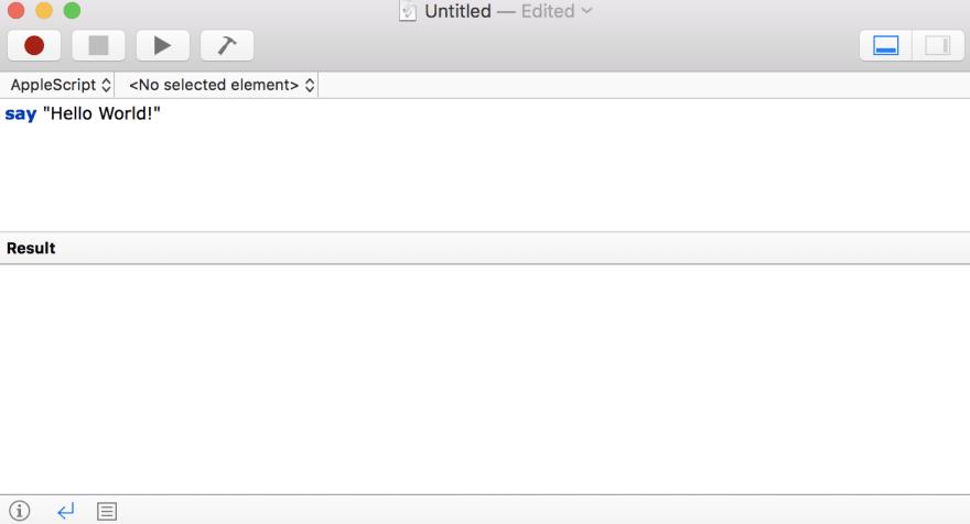 "Scripting Mac to audibly say ""Hello World!"""
