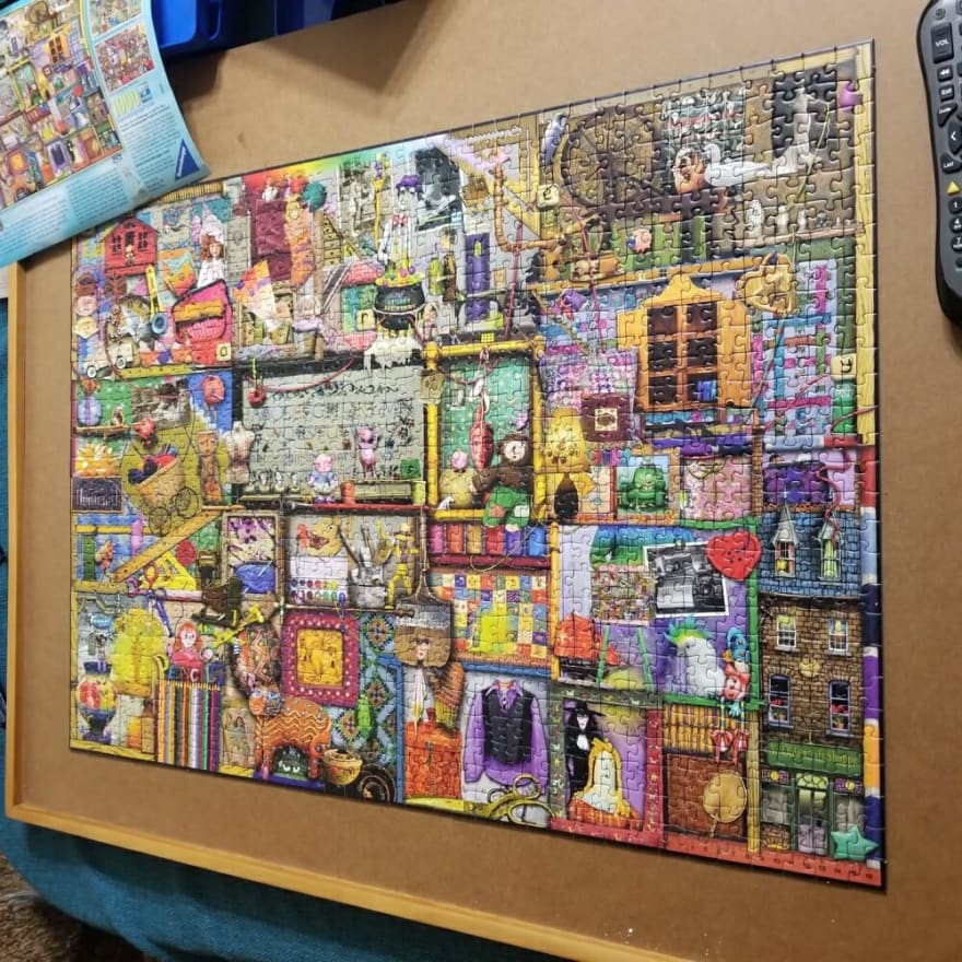 A jigsaw puzzle of a Colin Thompson painting, with many many crafting elements