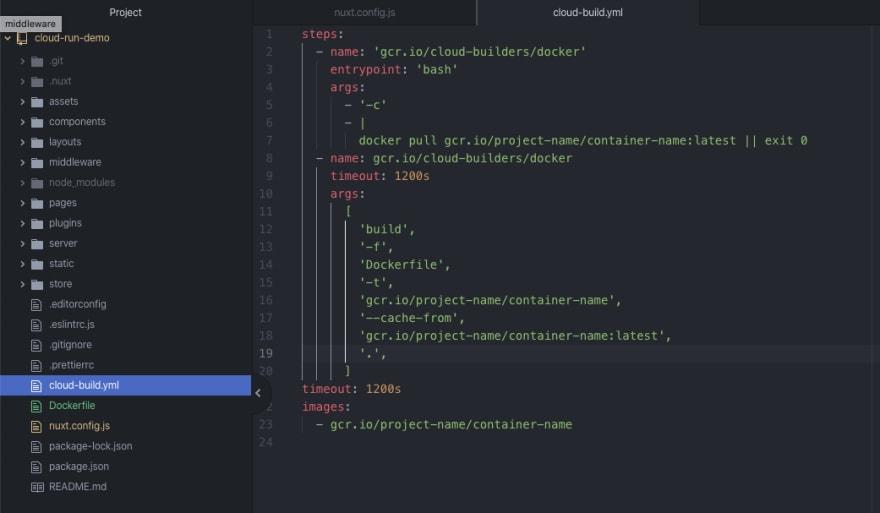 Add google cloud build config