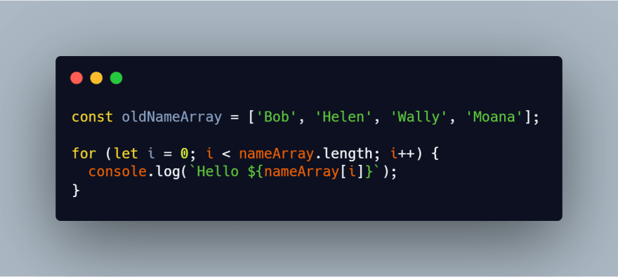 Looping over an array with a for loop