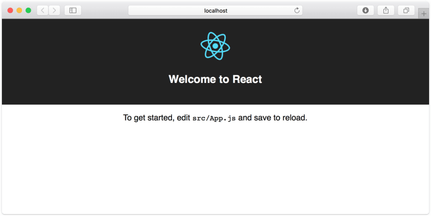 The initial view when you generate a new Create React App