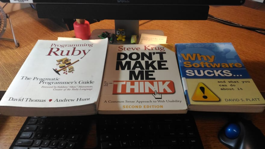 "books: ""Programming Ruby"", ""Don't Make Me Think!"", ""Why Software Sucks..."""