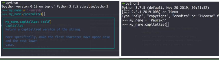 bpython vs python intepreter docstring