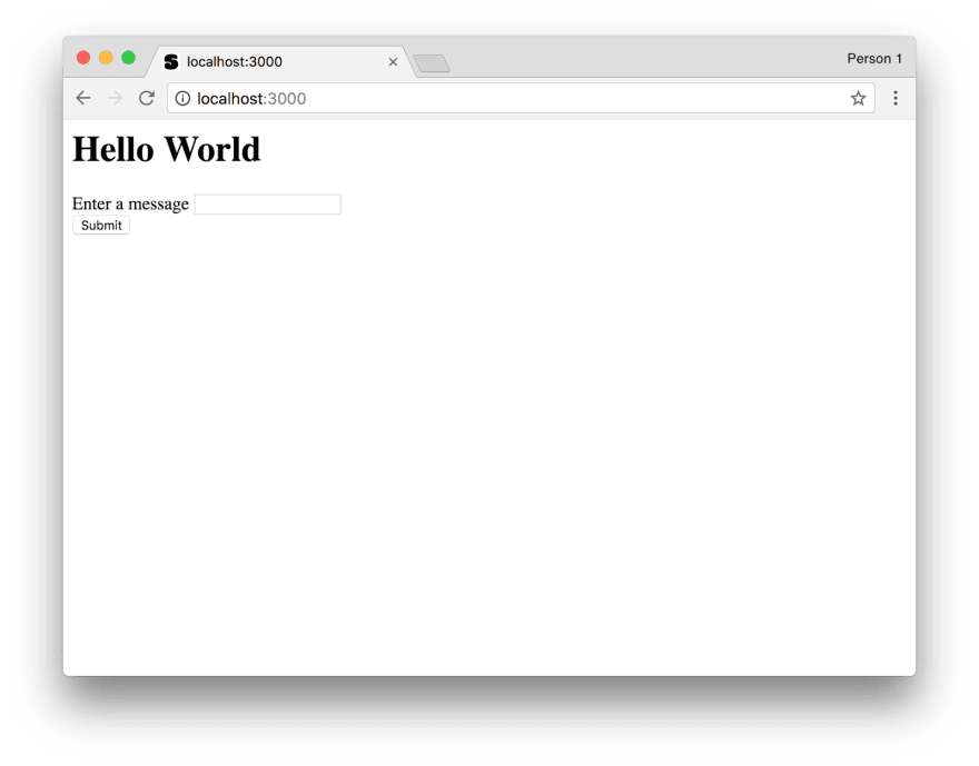 screenshot of the web page displaying hello world and an input field