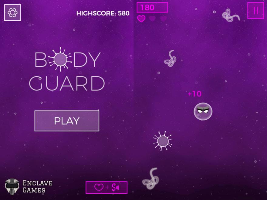Enclave Games - Body Guard: menu and gameplay