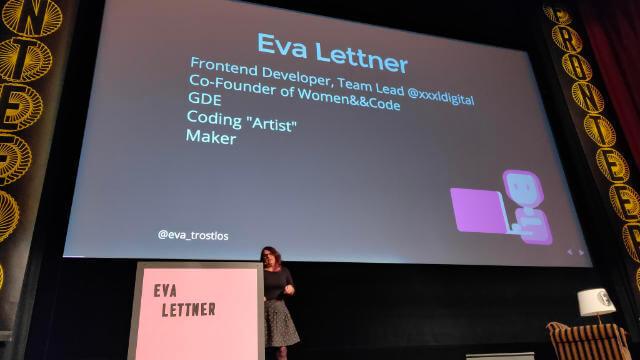 Eva Lettner starting her talk at Fronteers