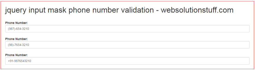 How To Validate Phone Number Using Jquery Input Mask
