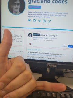 photo of a monitor showing my profile with my hand doing a hangloose