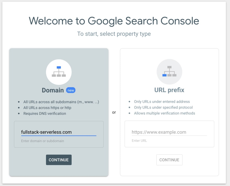 Google Search Console add domain screen.