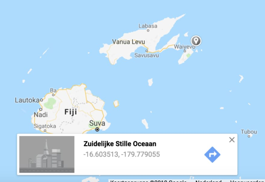 Screenshot of a map with a point on it in the east part of Fiji islands