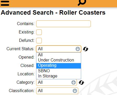 advanced search rcdb