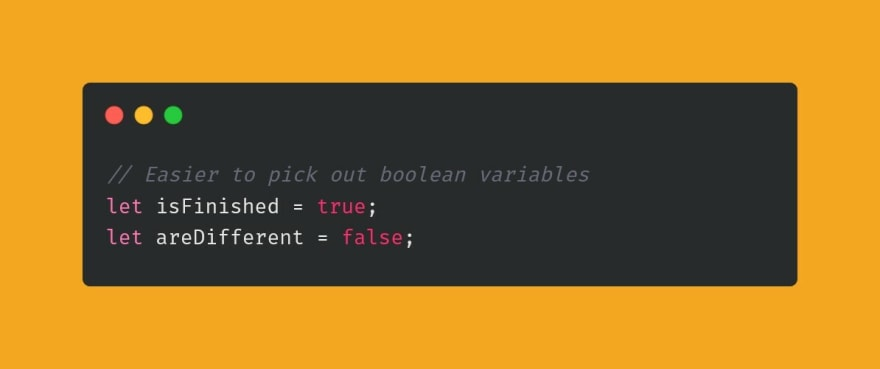 Example of boolean variable naming convention