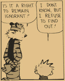 "A comic with Calvin and Hobbes in the frame having a conversation. Hobbes: ""Is it a right to remain ignorant?"" Calvin: ""I refuse to find out"""