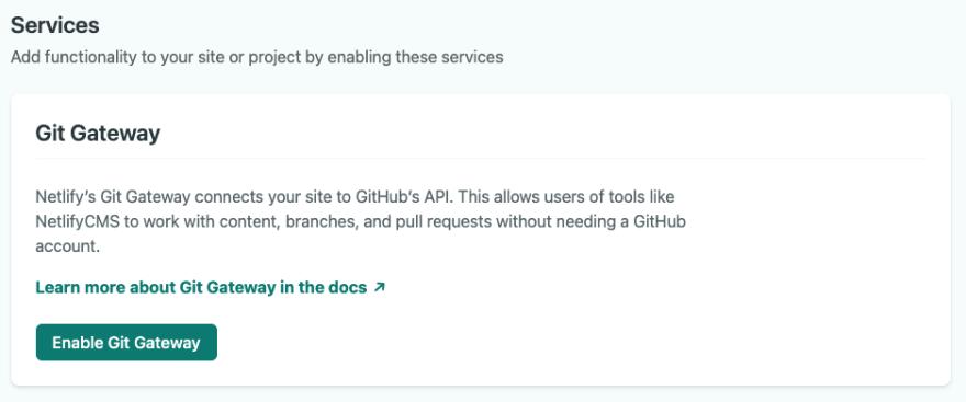 Enabling Git Gateway