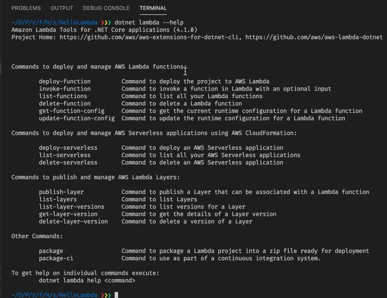 dotnet lambda --help