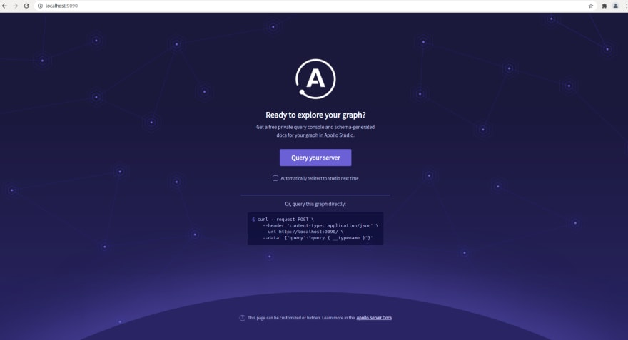 GraphQL Playground - Default Screen