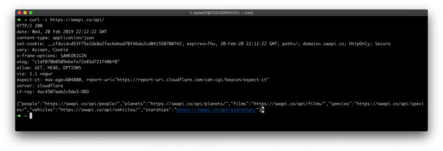 A terminal example, showing a GET request made to the Star Wars API endpoint    https://swapi.co/api via cURL