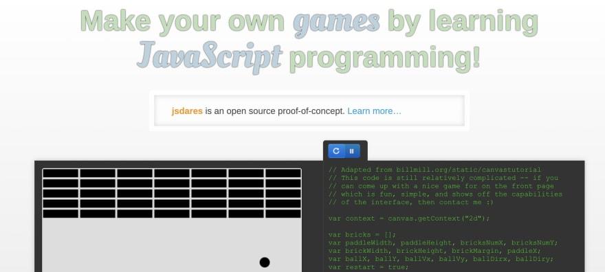 JsDares javascript gaming