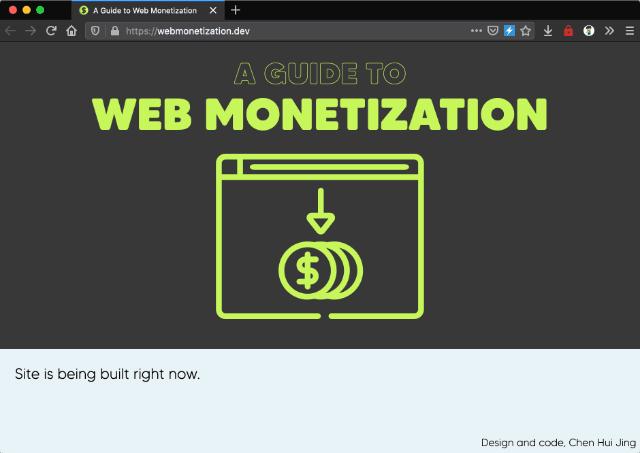 Home page of webmonetization.dev