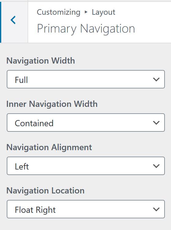 Generate Press Navigation Layout Settings