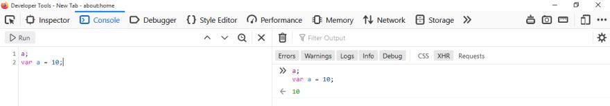 Variable hoisting as seen in Firefox 71 Developer Tools