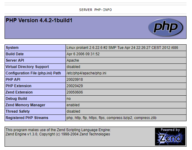 Public phpinfo.php of a page<br>