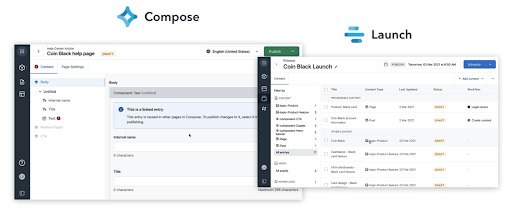 Screenshot of Compose and Laumch apps manus
