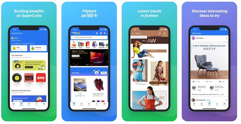 React Native apps: FlipKart app screenshots