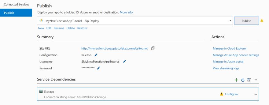 Visual Studio Publish Screen