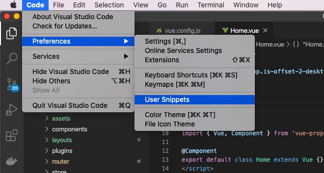 User Snippet VS Code