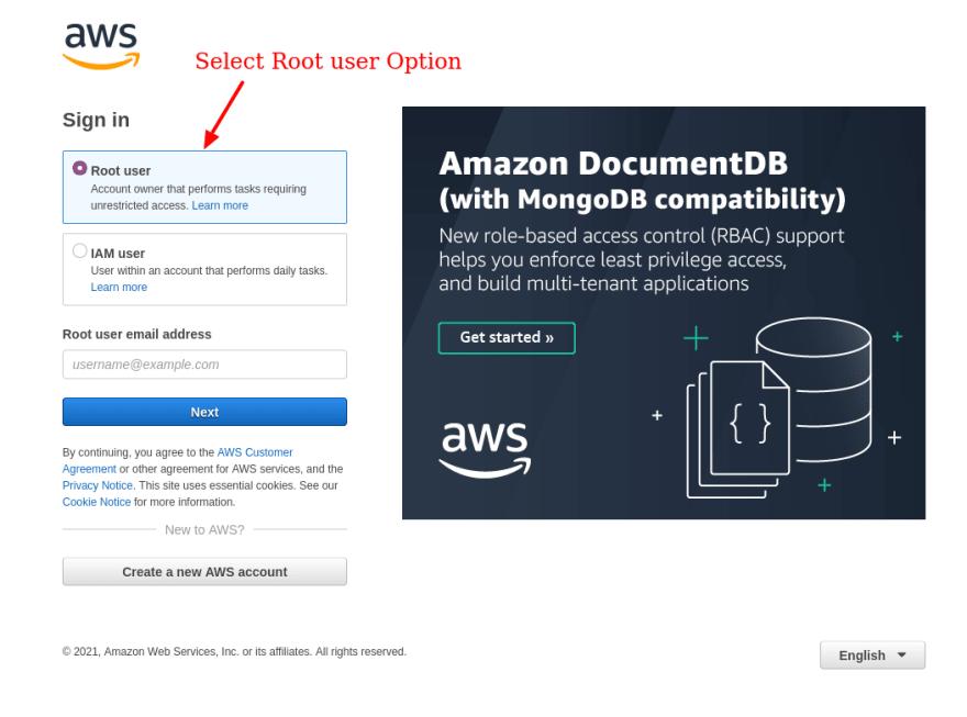 Amazon Root Login Window