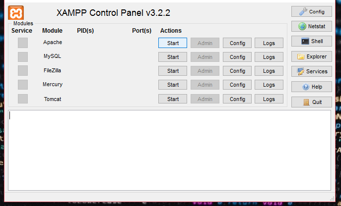 XAMPP Control panel on Windows Operating system
