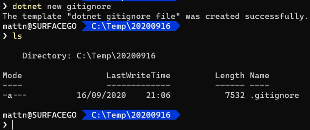 Cover image for Creating a .gitignore file using the .NET Core SDK
