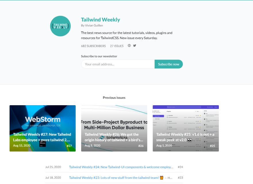 Tailwind weekly website