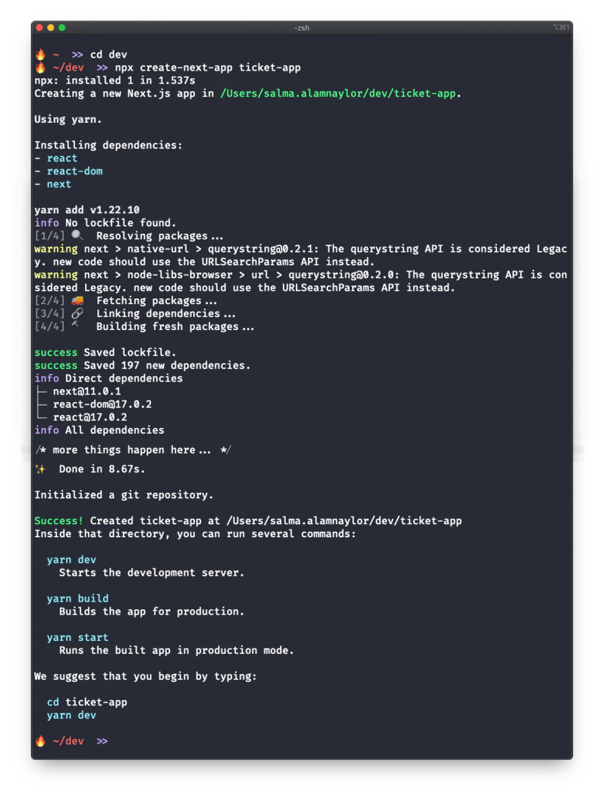 A screenshot of a terminal window showing the truncated output of the create next app command.